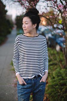 heyprettything.com - Wardrobe classics: stripes and boyfriend jeans
