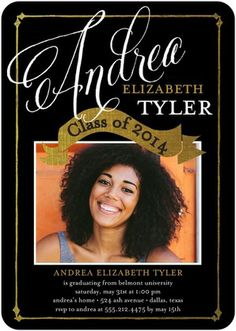 Sincerely Proud - #Graduation Invitations - Ann Kelle black, white and gold.