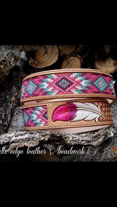 Beaded belt w/ leather engraving Indian Beadwork, Native Beadwork, Native American Beadwork, Native American Jewelry, Bead Loom Patterns, Bracelet Patterns, Beading Patterns, Beaded Earrings, Beaded Jewelry