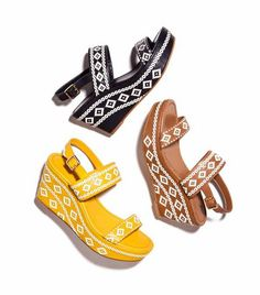 Tribal wedge you could wear everyday. The Reena Mid Wedge by Tory Burch sports a sturdy platform. #wedges