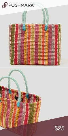 Zara Mini Tote Bag - NWT Cute bag for summer!  This bag is made of linen with a textured weave and multi-colored stripes. There are no pockets on the inside of the bag.  Height x Width x Depth: 20 x 26 x 10 cm  (8 x 10 x 4 inches). Zara Bags