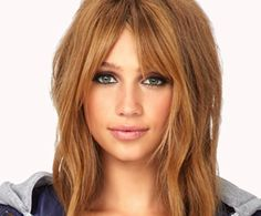 Auburn Hair, Center Parted Bangs