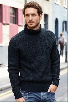 Amrican Model, Justice Joslin for Next: Sweaters ........ love the inky blue in the yarn here but a most interesting design ~ I think an almost modern twist on the traditional gansey. Allover bobbles will give the extra warmth but the cabling and diamonds plus saddle shoulders and roll neck collar give a sophisticated finish to the design. Clever!