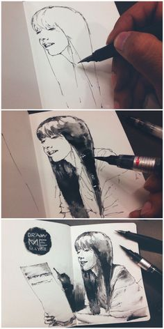 Juniel album cover - Lamy Safari and Pentel brush pen - My sketchbookThis gorgeous art work was created with just a Lamy Safari fountain pen and a Pentel brush pen!Try this type of shadingPin by Satha S on My Sketchbook Sketchbook Inspiration, Art Sketchbook, Drawing Sketches, Art Drawings, Sketching, Drawing Ideas, Pentel Brush Pen, Brush Pen Art, Brush Drawing