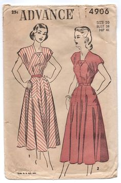 """1950's Advance One-Piece Dress with Pockets Pattern - Bust 38"""" - No. 4906 by backroomfinds on Etsy"""