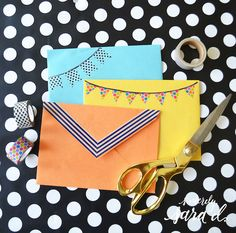 Cute ways to decorate envelopes with washi tape!
