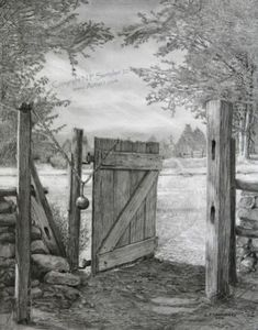 "The Gate Open edition signed print, reproduced from the original pencil drawing of the same name, by artist Nicholas Santoleri ""The Gate"" implies that we are standing at the gate then walking through to brighter times ahead. Note the darker tones prior to Landscape Pencil Drawings, Landscape Sketch, Pencil Art Drawings, Art Drawings Sketches, Scenery Drawing Pencil, Pencil Drawings Of Nature, Graphite Drawings, Pencil Drawing Tutorials, Drawing Ideas"