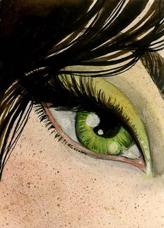 FREE SHIPPING  Leafgreen Eye Original ACEO  25 x 35 by reneenault,