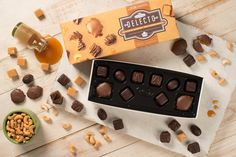 Nuts, caramel and chocolate come together to for the ultimate indulgent bite in our Delecto Nut and Caramel box. Chocolate Box, Chocolates, Caramel, Canada, Sticky Toffee, Candy, Schokolade, Chocolate