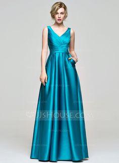 [R$ 365.27] Vestidos princesa/ Formato A Decote V Longos Cetim Vestido de madrinha com Pregueado (007074189)