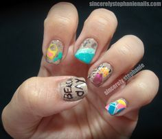 Beach Day Nails! (The little girl is supposed to be drawing the words Beach Day :))