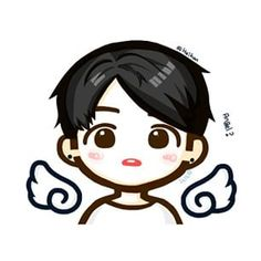 Jungkook chibi... An angel walking on Korean grounds...