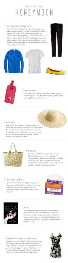 What to Pack for your Honeymoon.  Get your honeymoon funded by your guests at honeymoonreg.com!