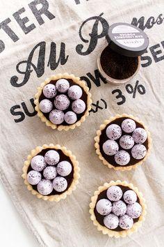 liquOrice toffee pies with blueberry meringue