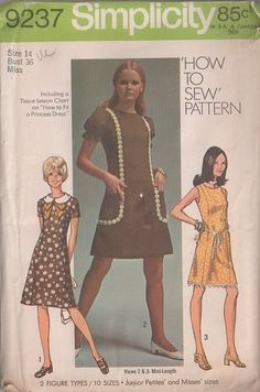MOMSPatterns Vintage Sewing Patterns - Simplicity 9237 Vintage 70's Sewing Pattern ADORABLE Easy How to Sew Mod Princess Panel Day Dress, Ball Fringe or Daisy Medallion Trim