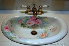 Delicieux Items Similar To Hand Painted Roses Porcelain Sink Shabby/Chic Decor On Etsy