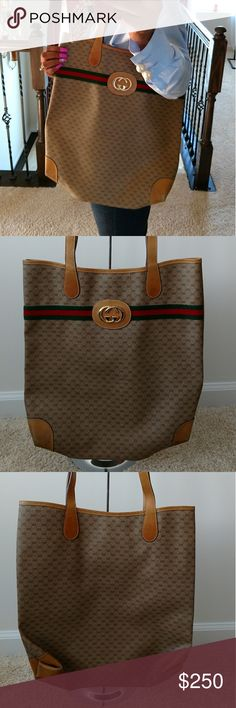 Authentic Vintage Gucci Tote This 100% vintage Gucci shopper tote has soft leather and is in good condition with some flaws.  FLAWS: wear from use and age, corners scuffed with some staining and could use polish, inside has light red stain. Gucci Bags Totes