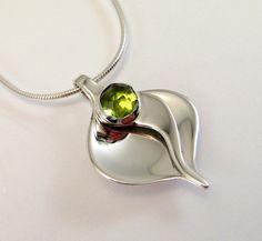Sterling Silver Peridot Calla Lily Pendant by LauraRoberson
