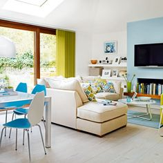 Want open-plan living room? Take a look at these brilliant and creative ways to create an open-plan seating area in your home Sunken Living Room, Coastal Living Rooms, Living Area, Living Spaces, Room Interior Design, Living Room Interior, Living Room Furniture, Living Room Decor, Dining Room