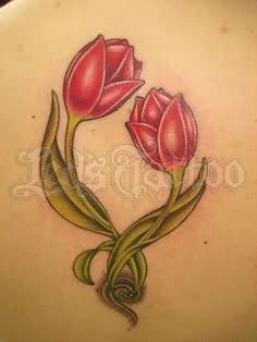 Two Red Tulip Flowers Tattoo Design