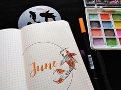Use this Japanese Koi Fish Stencil stencil to add creativity to any journal spread. Bullet Journal Grid, December Bullet Journal, Bullet Journal Aesthetic, Bullet Journal Ideas Pages, Bullet Journal Spread, Bullet Journal Layout, Bullet Journal Inspiration, Filofax, Fish Stencil