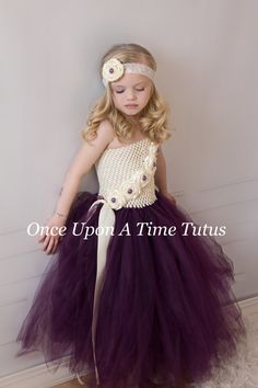 Ivory Eggplant Purple Flower Girl Tutu Dress - Photo Prop, Baby Girls Size 12 18 Months 2T 3T 4T 5 6 7 8 10 12 - Summer Wedding Couture