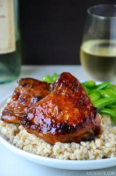Honey Balsamic Baked Chicken Thighs by justataste #Chicken #Honey #Balsamic