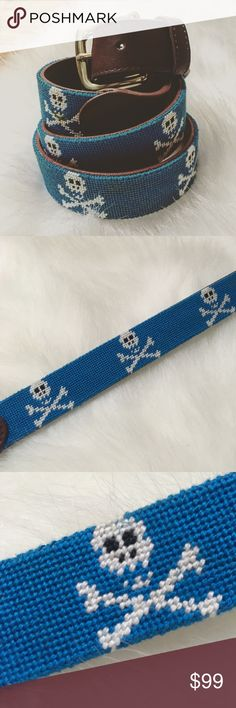 Men's Tucker Blair Skull and Crossbones Belt Men's needlepointed scull and crossbones belt by Tucker Blair. Size 38. Brown leather. The skull next to the leather with the belt loops has a yellow spot, it looks cleanable. Otherwise in excellent condition. Tucker Blair Accessories Belts