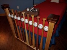 baseball bat bed. Like the baseball spacers. Prefer just the headboard done this way with a plain footboard