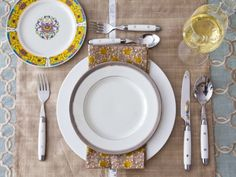 Yellow and Khaki Place Setting