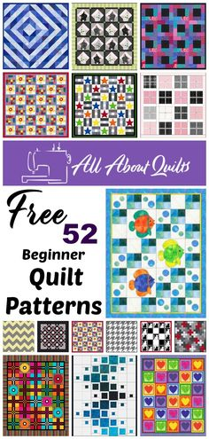 52 Stunning Free Beginner Quilt Patterns for you to have. Each quilt is a different size and comes complete with templates, fabric yardage and tips to help you make each quilt. Beginner Quilt Patterns, Quilting For Beginners, Block Patterns, Quilt Patterns Free, Quilt Tutorials, Pattern Blocks, Quilt Design, Quilting Designs, Quilt Making