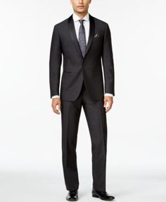 ae233845efd0 Ryan Seacrest Distinction Gray Textured Shawl Lapel Slim-Fit Tuxedo  Separates