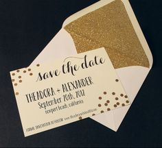 mint love social club: {gold confetti invitations} absolutely love these