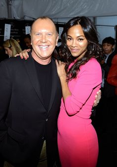 Designer Michael Kors and actress Zoe Saldana pose backstage at the Michael Kors Fall 2013 fashion show during Mercedes-Benz Fashion Week at The Theatre at Lincoln Center on February 2013 in New York City. How To Look Pretty, Pretty In Pink, Michael Kors Fall, Zoe Saldana, Backstage, Calvin Klein, Fashion Show, High Neck Dress, Bodycon Dress