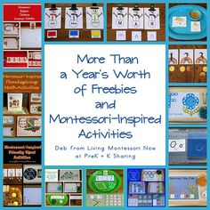 Links to LOTS and LOTS of free printables along with ideas for creating Montessori-inspired activities using the printables