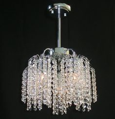 14 inches Five Crystal Bunches Semi-Flush Mount Chandelier in Chrome w. 5 Lts #Modern