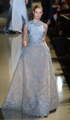 11 Elie Saab Spring Couture Gowns We Hope to See on the Red Carpet: Emma Stone is not afraid of trying something new on the red carpet. One day it's vampy Gucci and the next, it's bow-clad Giambattista Valli — for her next move, she should try a little bit of the retro Old Hollywood glamour via this pale blue Elie Saab dress.