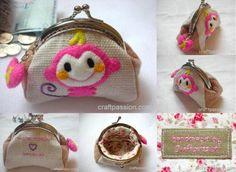 DIY clutch purse with metal frame.  Very cute.