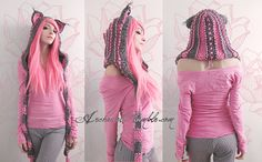 Pink and grey custom cat hood by *Archaical on deviantART