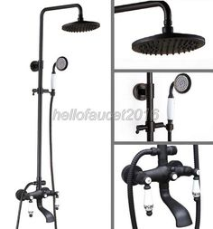 151.99$  Buy here - Modern Bathroom 8 inch Rain Shower Faucet Set Black Oil Antique Brass Finish with Ceramic Lever Wall Mounted Bathtub Taps lhg126  #magazineonlinewebsite