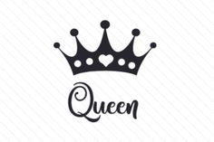Queen (SVG Cut file) by Creative Fabrica Crafts · Creative Fabrica King Queen Tattoo, King Tattoos, Queen Crown Tattoo, Mom Tattoos, Silhouette Cameo Projects, Silhouette Design, Tattoo No Peito, Crown Tattoo Design, Queens Wallpaper