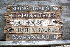 Rustic Cabin Decor, Lodge Decor, Rustic Wood Signs, Trail Signs, Fishing Signs, Cabin Signs, Bait And Tackle, Cabins In The Woods, How To Distress Wood