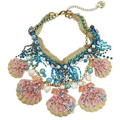 Betsey Johnson Shell Shocked Pink Blue Shell Frontal Necklace (5,965 PHP) ❤ liked on Polyvore featuring jewelry, necklaces, blue, multicolor bead necklace, blue necklace, multi color beads necklace, pink bead necklace and blue statement necklaces