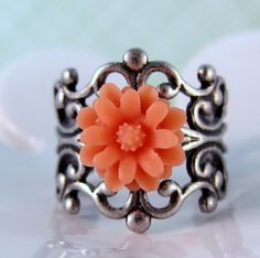 Coral and antique silver ring  adjustable by ShyofPerfect on Etsy, $5.00