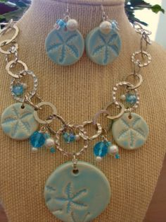 Starfish Ceramic and glass bead Necklace by Beachykeenpottery, $50.00
