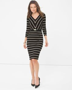 "WHBM knit sheath. It features multi-directional stripes that visually slim the waist and shape the hips.   Striped sheath dress Removable belt   Lined  Rayon/spandex. Machine wash.  Regular: Approx. 40"" from shoulder  Petite: Approx. 37.25"" from shoulder  Imported"