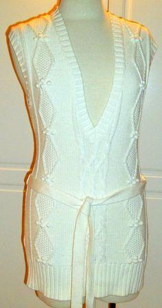 ANN TAYLOR LOFT solid ivory 100% Cotton cable knit sweater vest sz M (T22X1H5G) #AnnTaylorLOFT #VestSleeveless