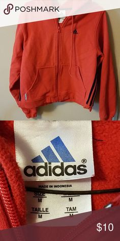 e27e2c56460b1 Boys size Medium Adidas hoodie Medium Red Zip up front adidas Jackets    Coats