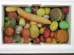 Fake Food Collection - all assembled from river found debris in Ohio.