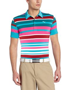 c0325111 Featuring UPF 40+ UV protection this mens NA roadmap stripe golf polo shirt  by Puma